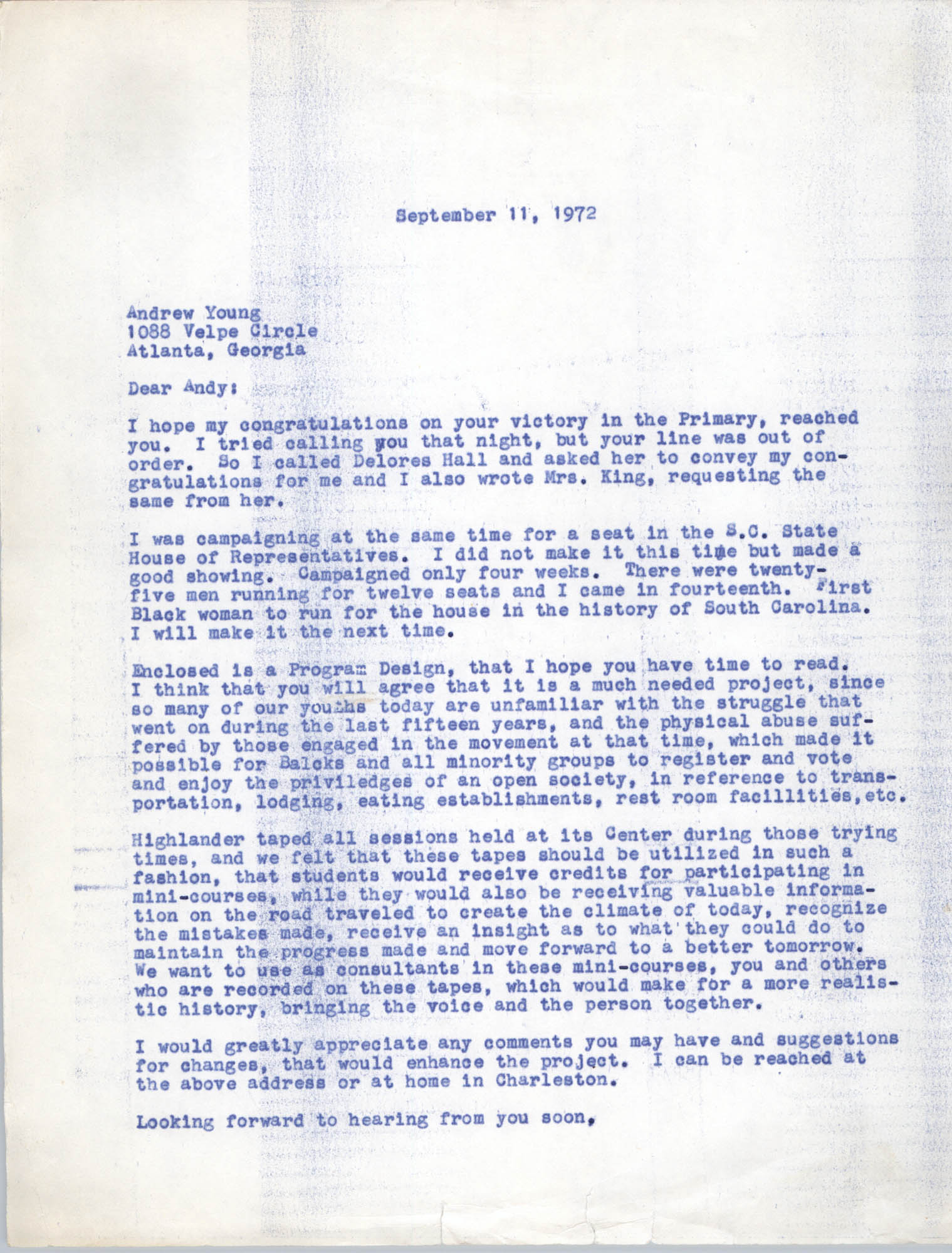 Letter from Bernice Robinson to Andrew Young, September 11, 1972
