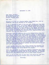 Letter from Bernice Robinson to John Lewis, September 11, 1972