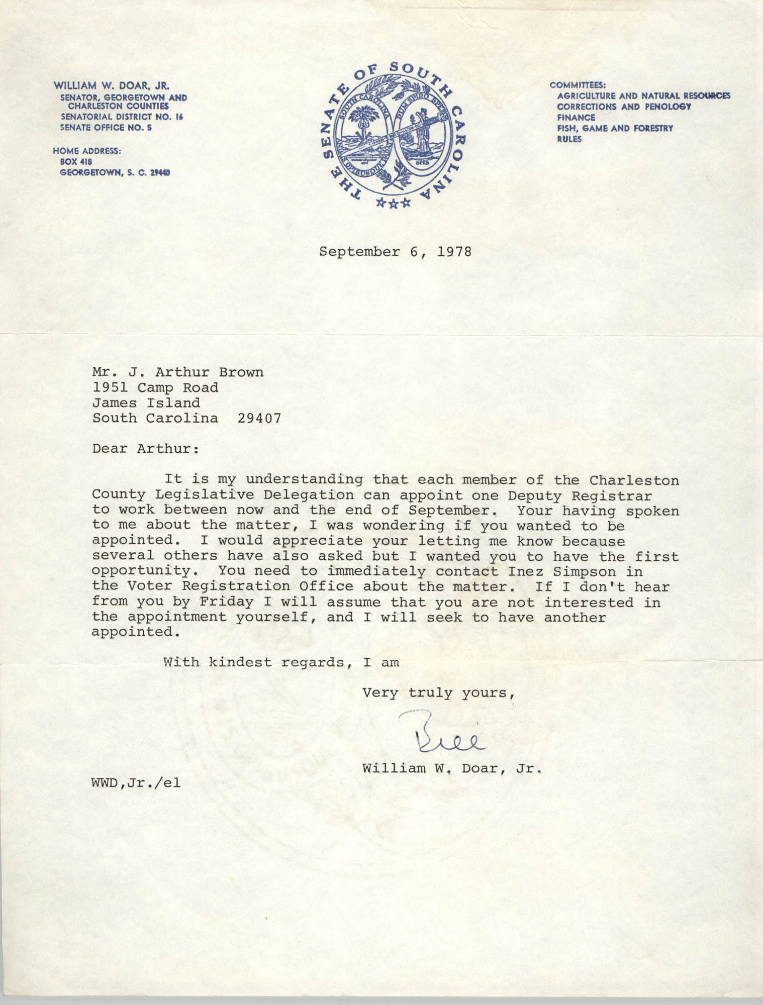 Letter from William W. Doar, Jr. to J. Arthur Brown, September 6, 1978