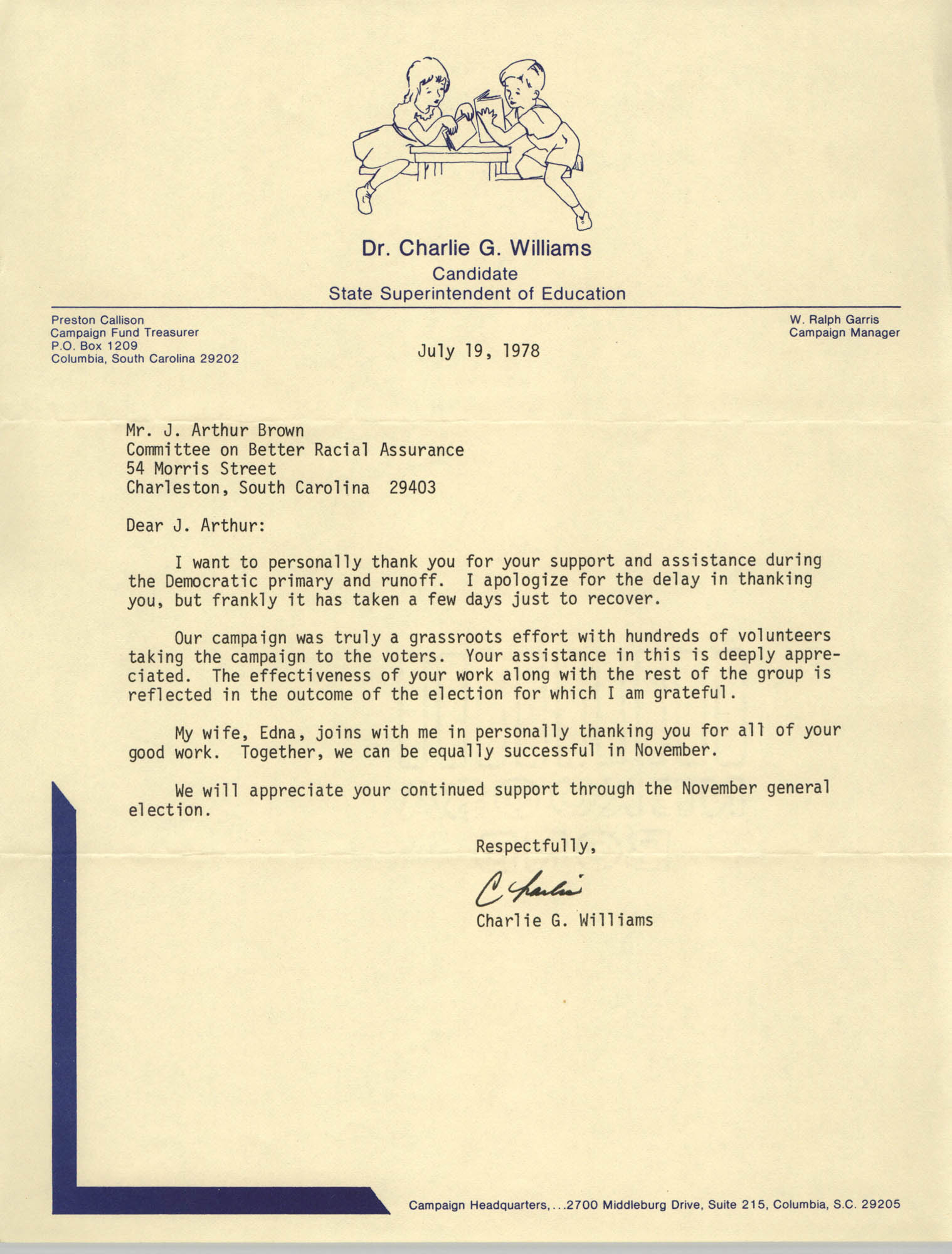 Letter from Charlie G. Williams to J. Arthur Brown, July 19, 1978