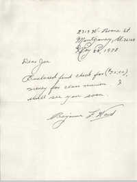 Letter from Benjamin F. Ward to J. Arthur Brown, May 22, 1978