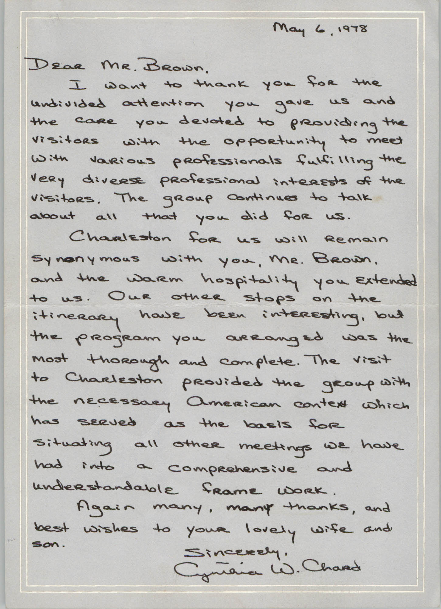 Letter from Cynthia W. Chard to J. Arthur Brown, May 6, 1978