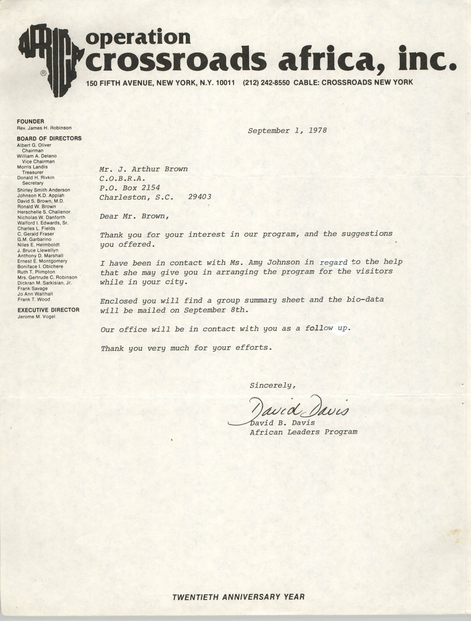 Letter from David B. Davis to J. Arthur Brown, September 1, 1978