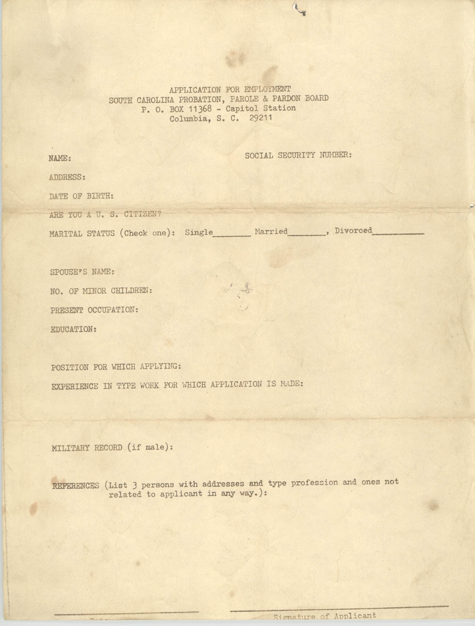 Application for Employment to the South Carolina Probation, Parole and Pardon Board