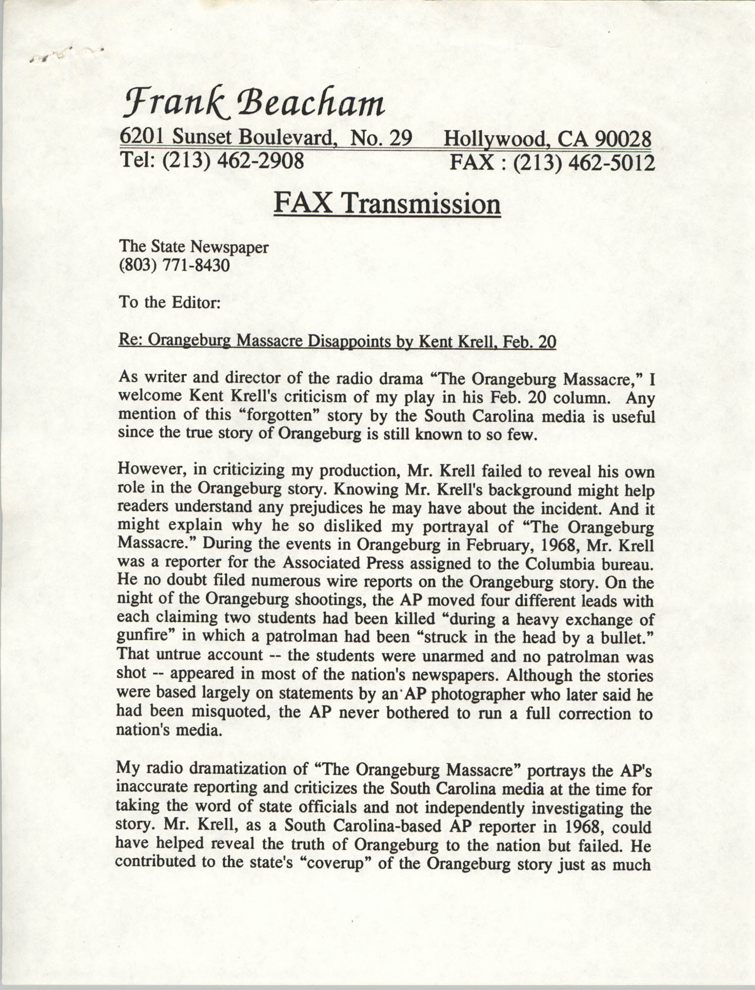 Correspondence from Frank Beacham to The State Newspaper