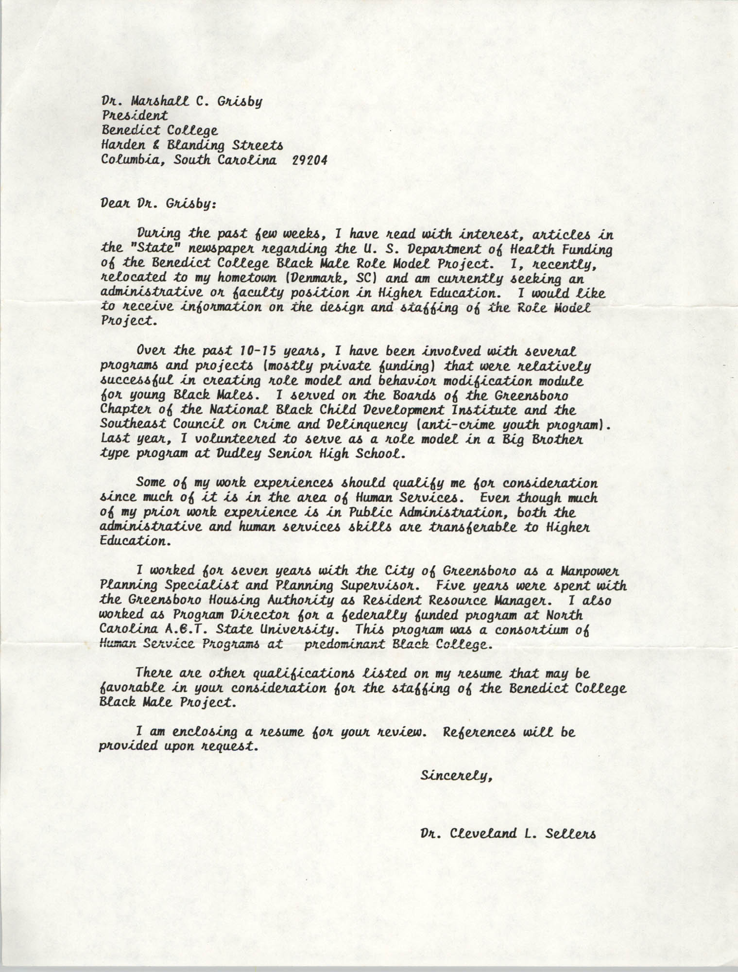 Letter from Cleveland Sellers to Marshall Grisby