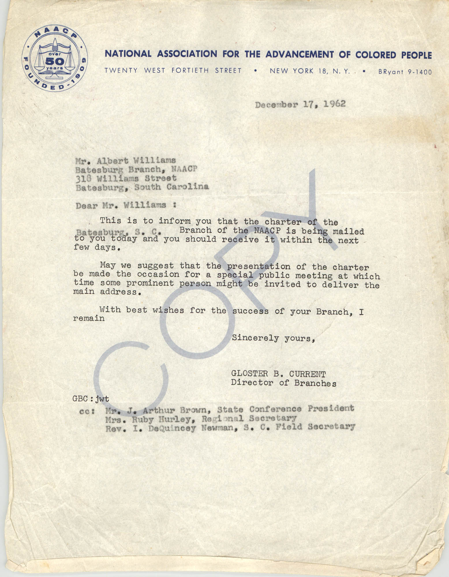 Letter from Gloster B. Current to Albert Williams, December 17, 1962