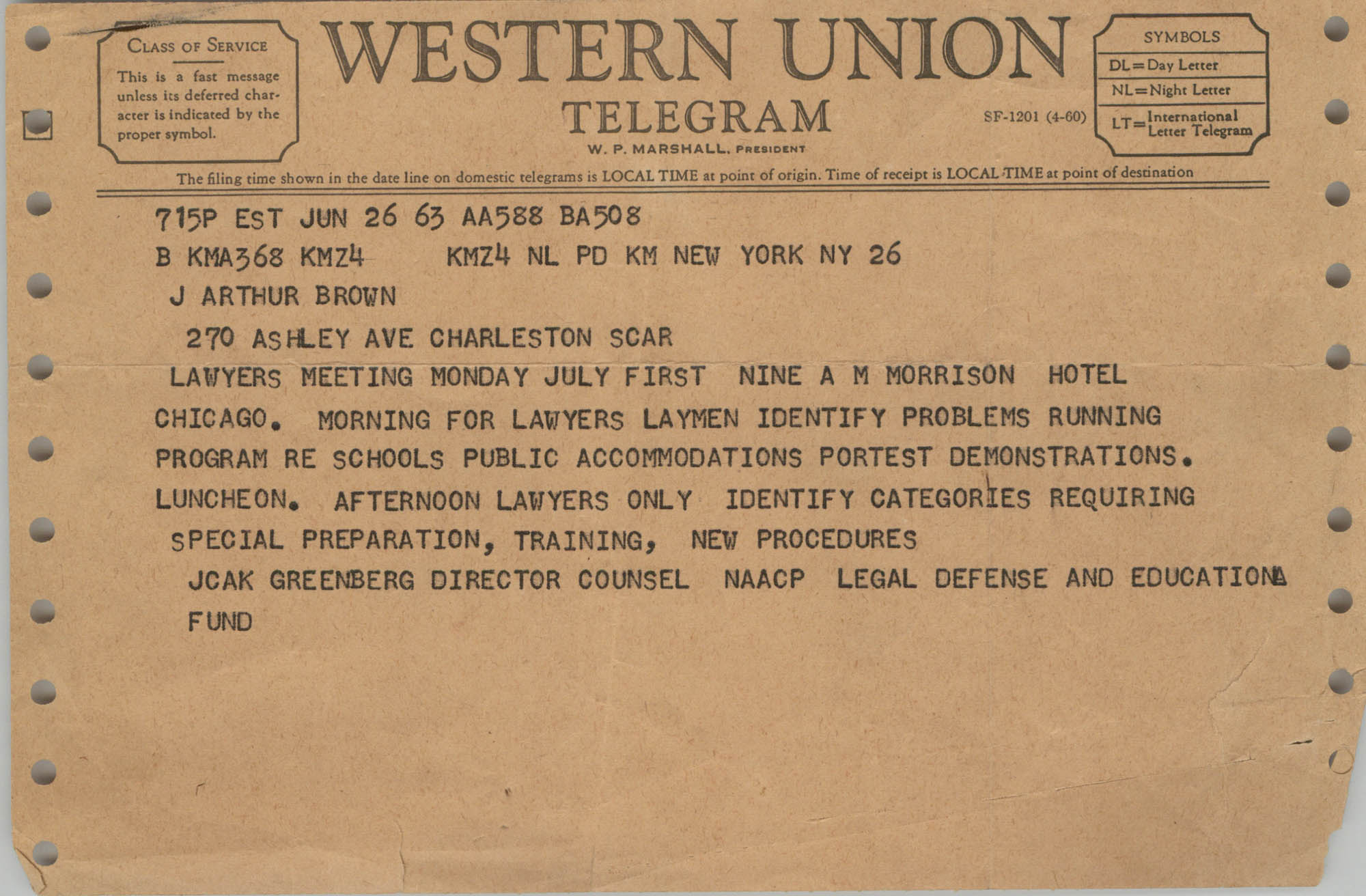 Telegram from Jack Greenberg to J. Arthur Brown, June 26, 1963