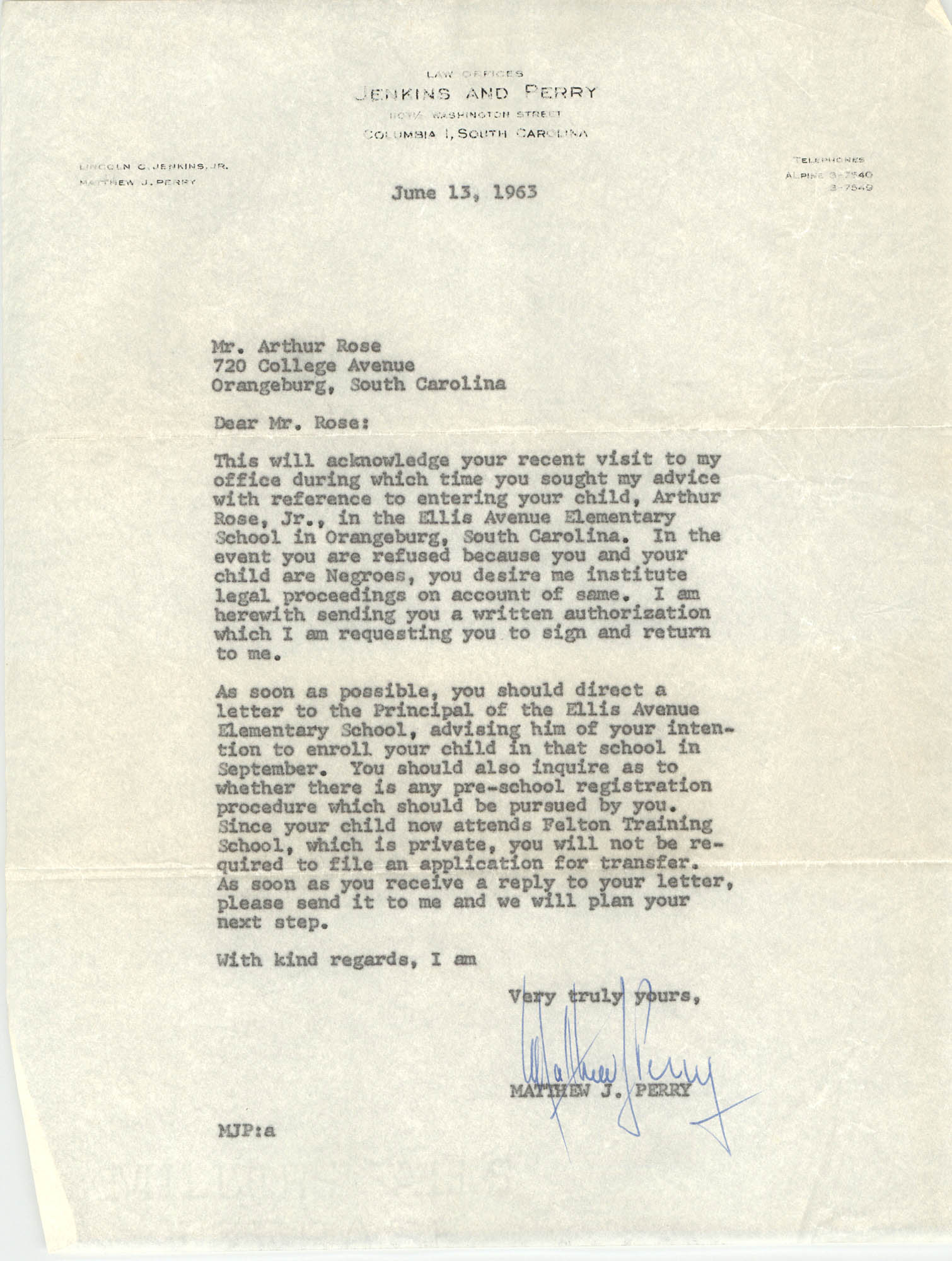 Letter from Matthew J. Perry to Arthur Rose, June 13, 1963