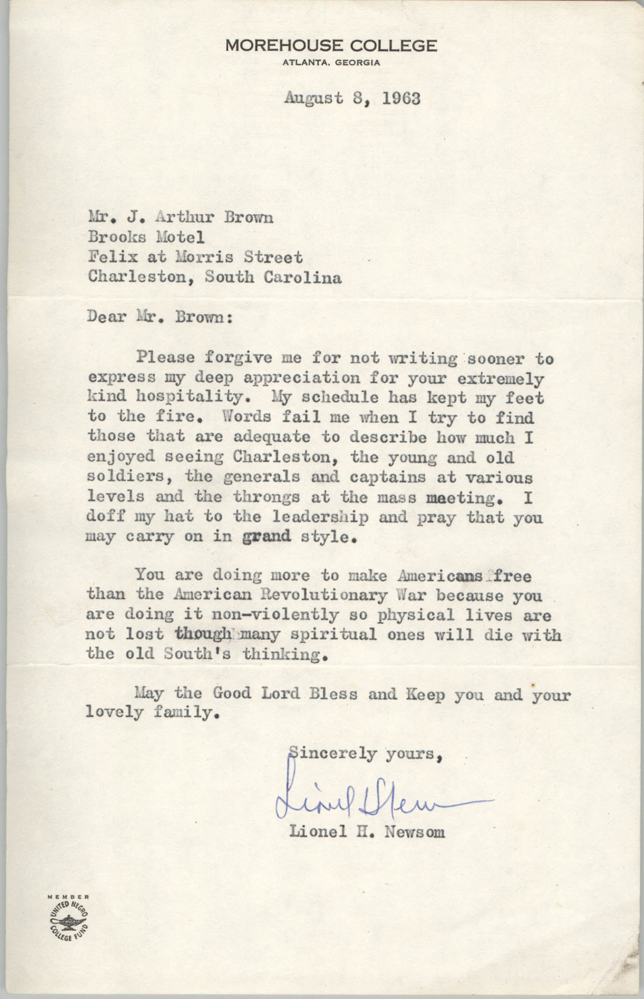Letter from Lionel H. Newsom to J. Arthur Brown, August 8, 1963