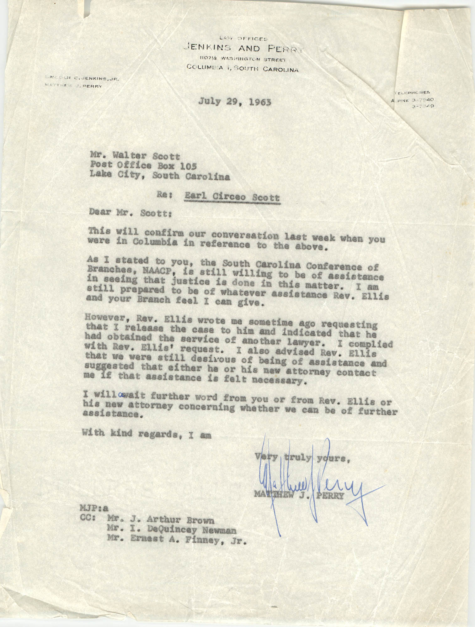 Letter from Matthew J. Perry to Walter Scott, July 29, 1963