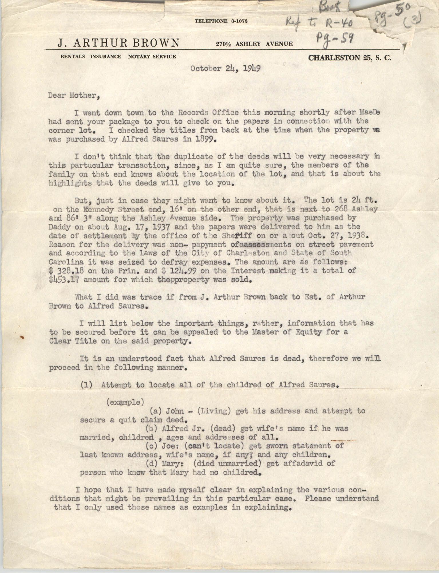 Letter from J. Arthur Brown to His Mother, October 24, 1949