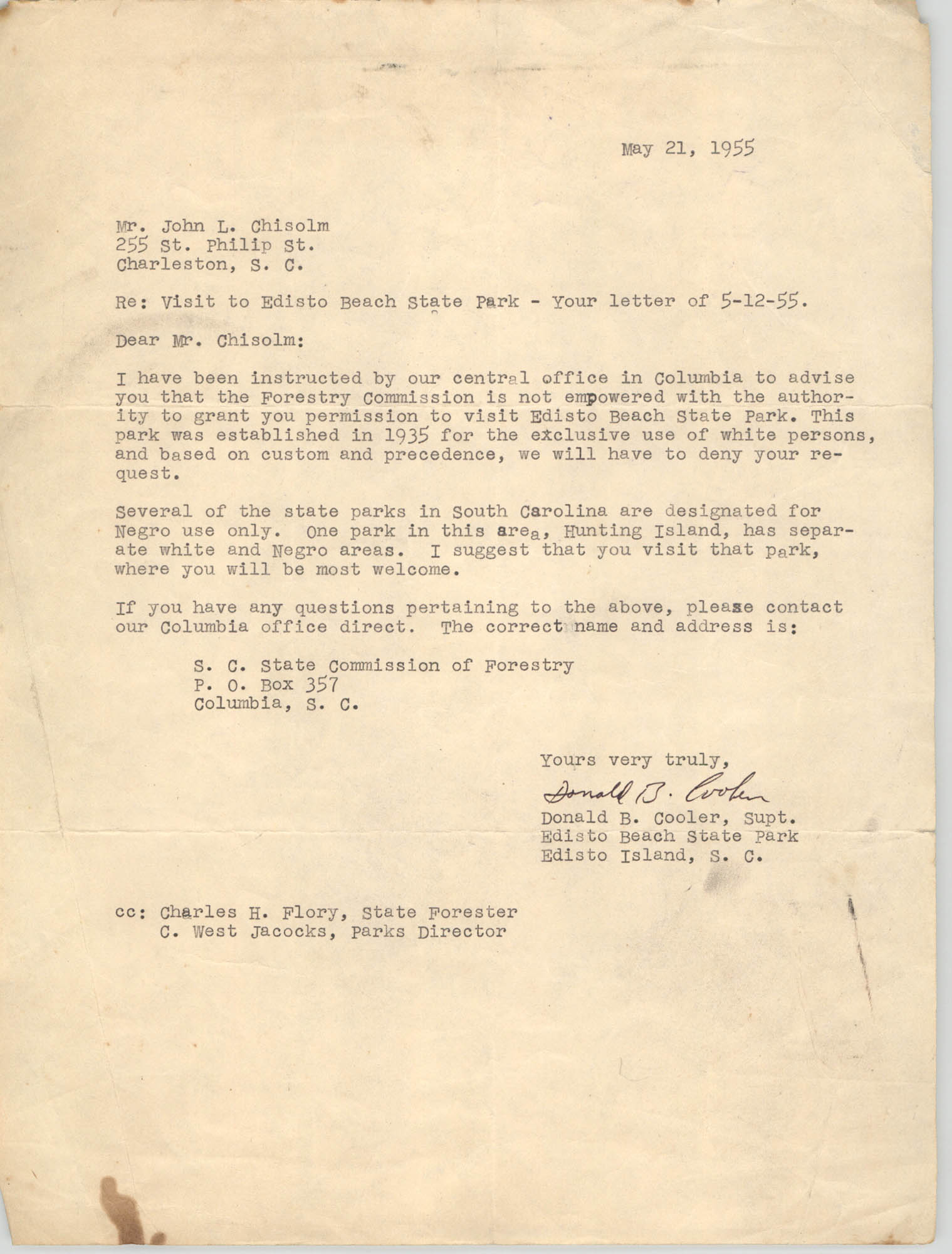 Letter from Donald B. Cooler to John L. Chisolm, May 21, 1955