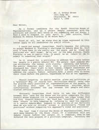 Letter from J. Arthur Brown, April 7, 1986