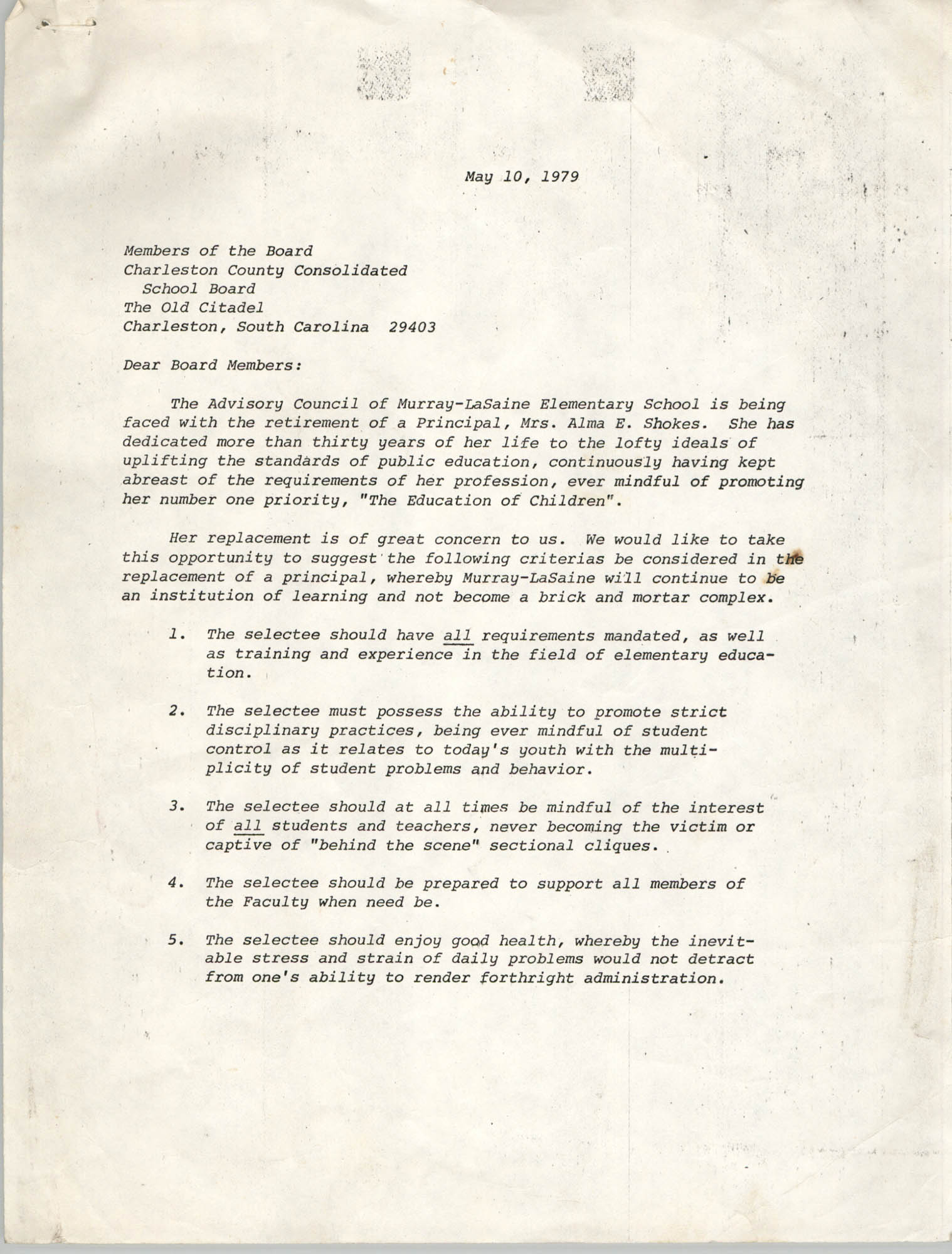 Letter from J. Arthur Brown to Members of the Charleston County Consolidated School Board, May 10, 1979
