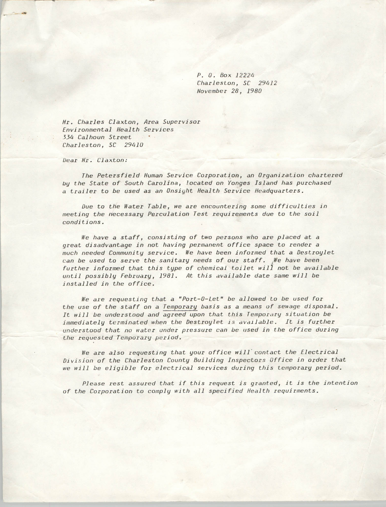 Letter from J. Arthur Brown to Charles Claxton, November 28, 1980