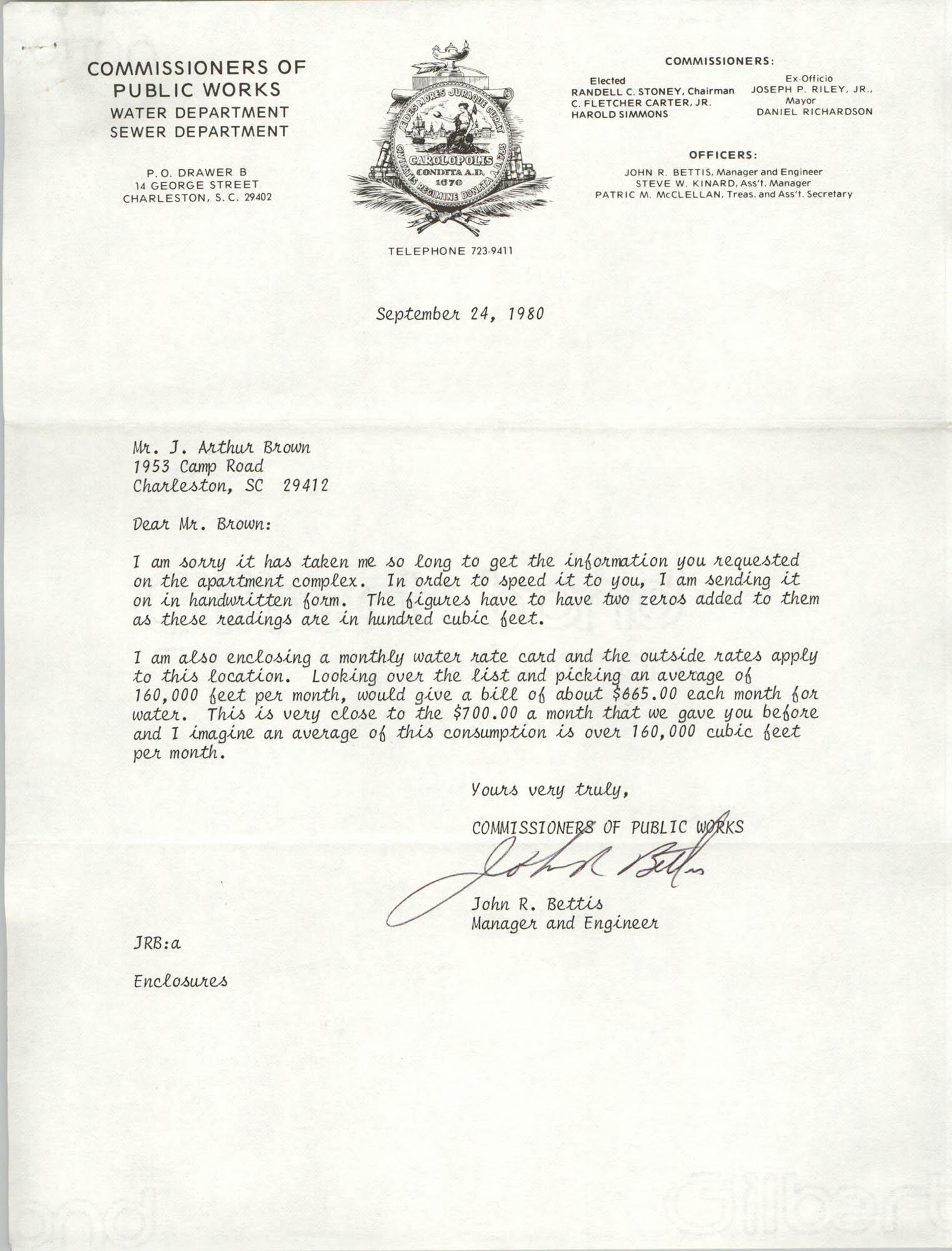 Letter from John R. Bettis to J. Arthur Brown, September 24, 1980