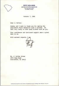 Letter from Ernest F. Hollings to J. Arthur Brown, October 7, 1986