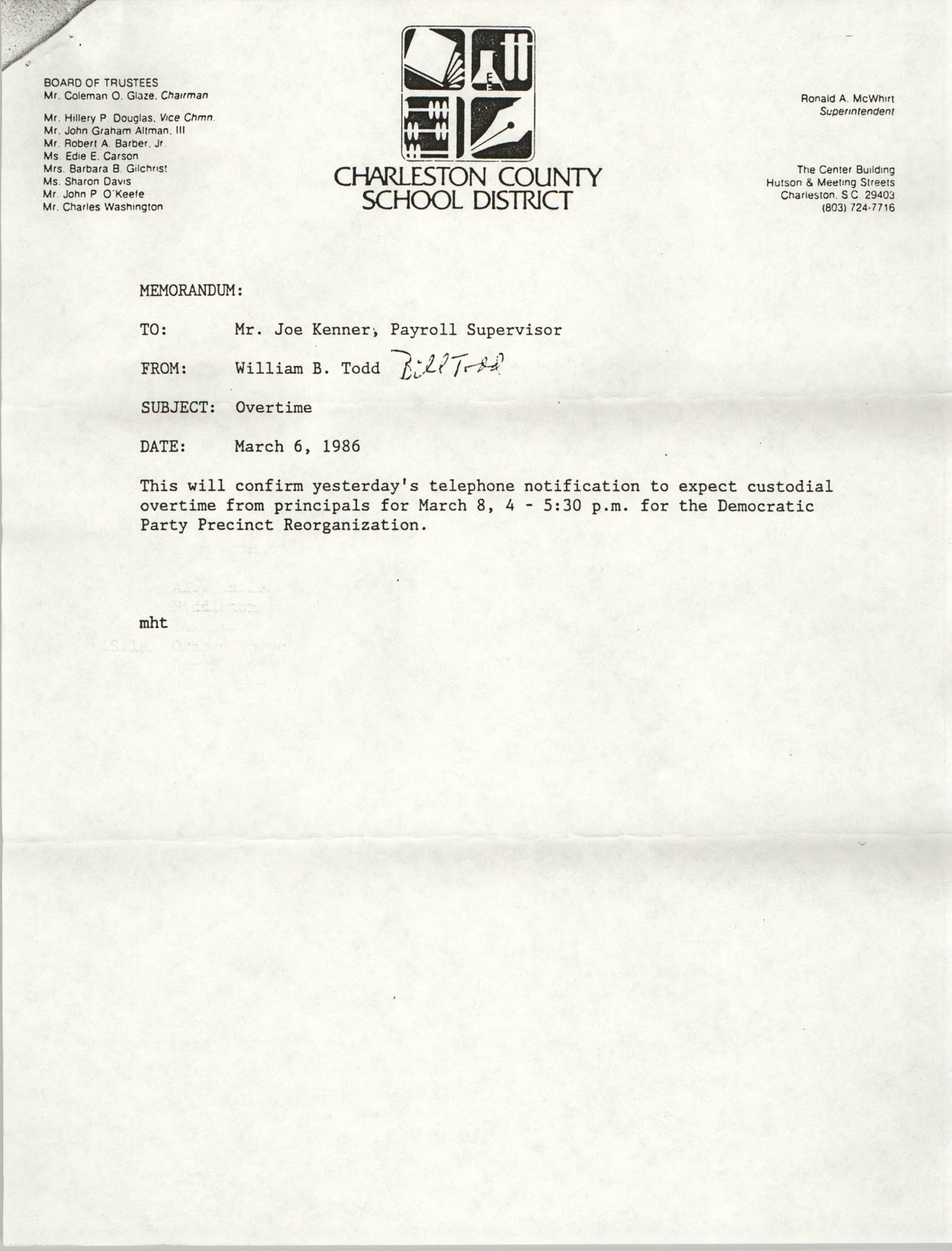 Letter from William B. Todd to Joe Kenner, March 6, 1986