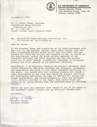 Letter from Jerry C. Foster to J. Arthur Brown, November 5, 1982