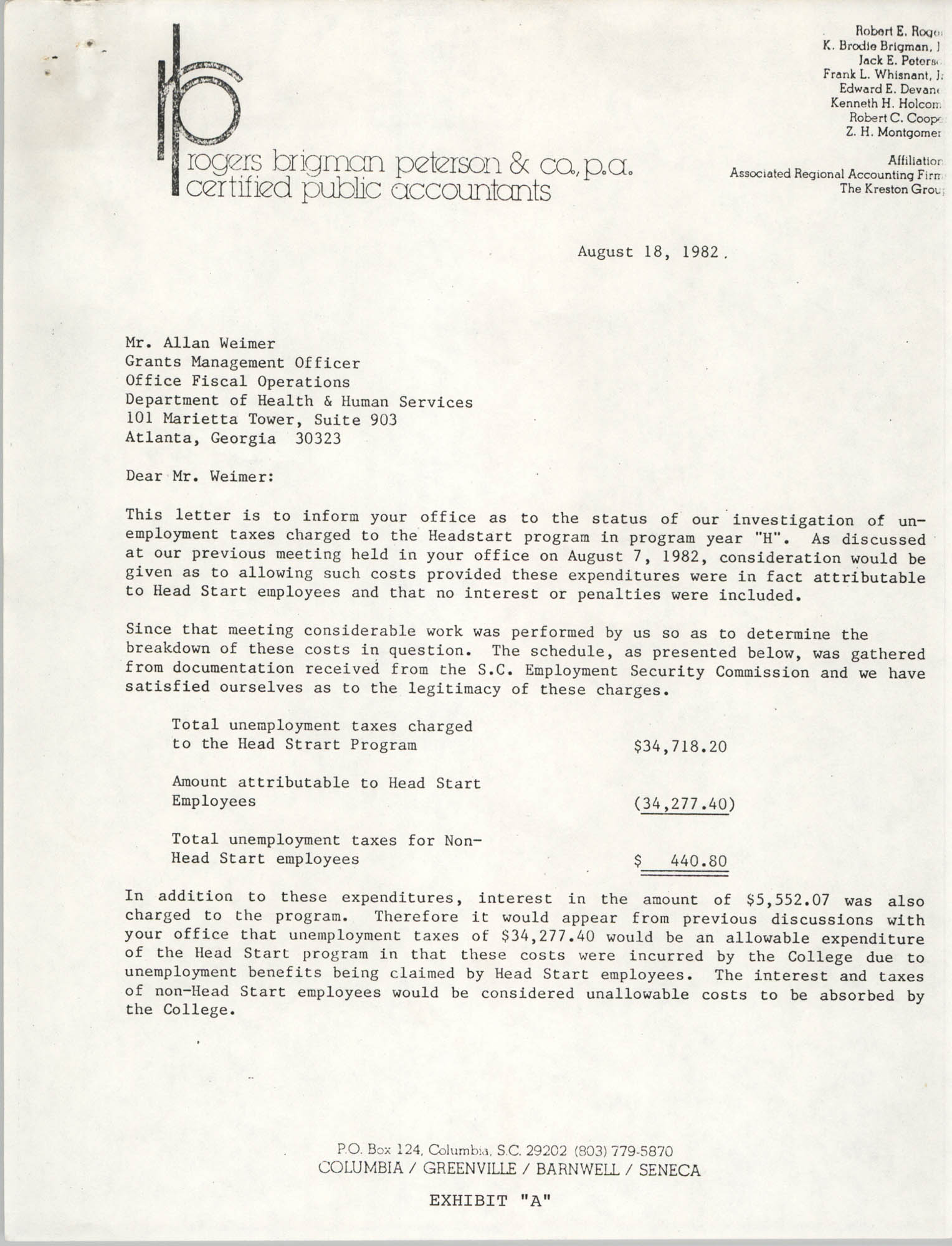 Letter from Mark J. Corey to Allan Weimer, August 18, 1982
