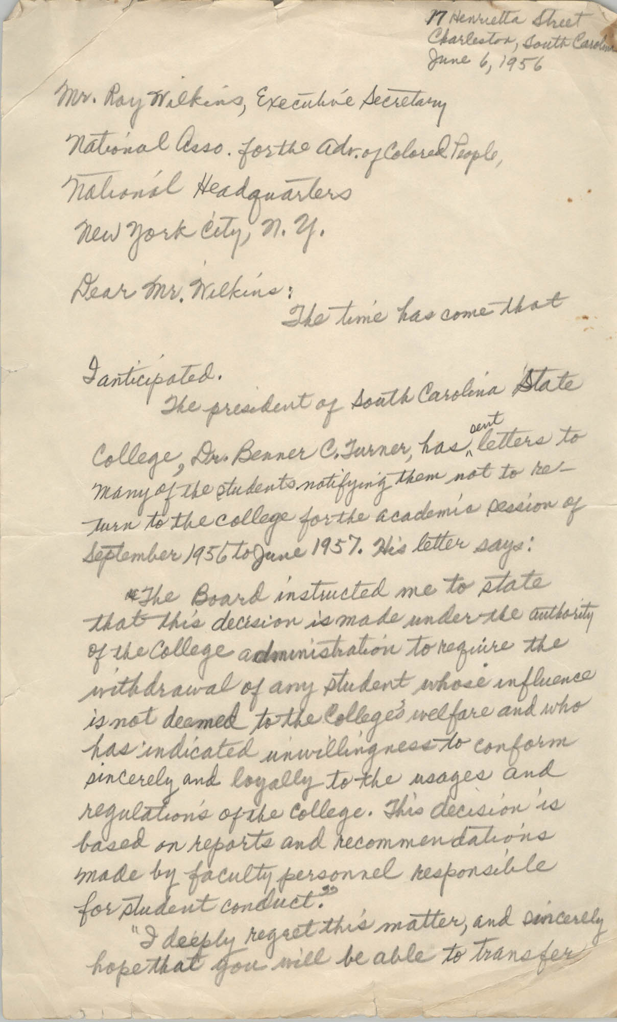 Letter from Septima P. Clark to Ray Wilkins, June 6, 1956
