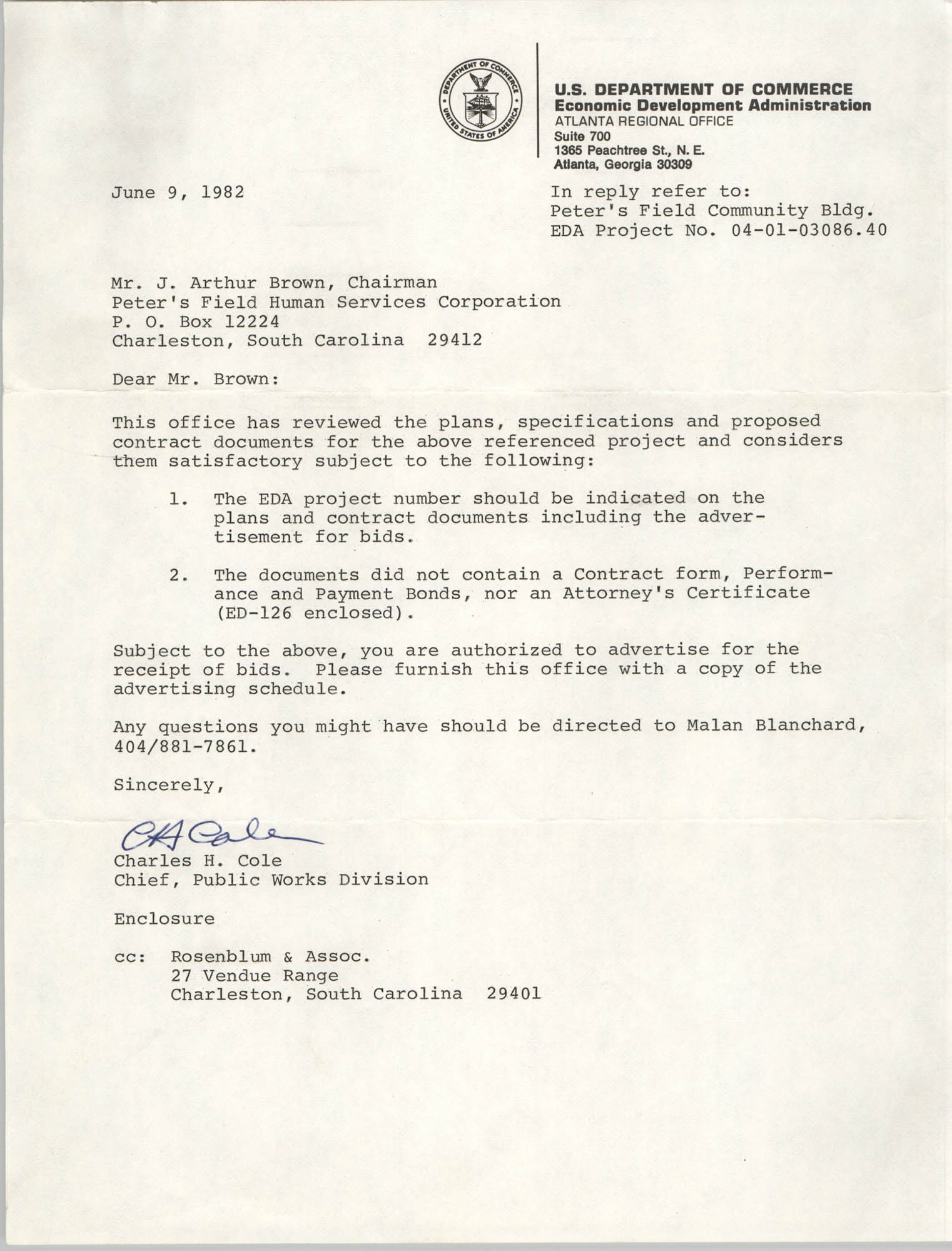 Letter from Charles H. Cole to J. Arthur Brown, June 9, 1982