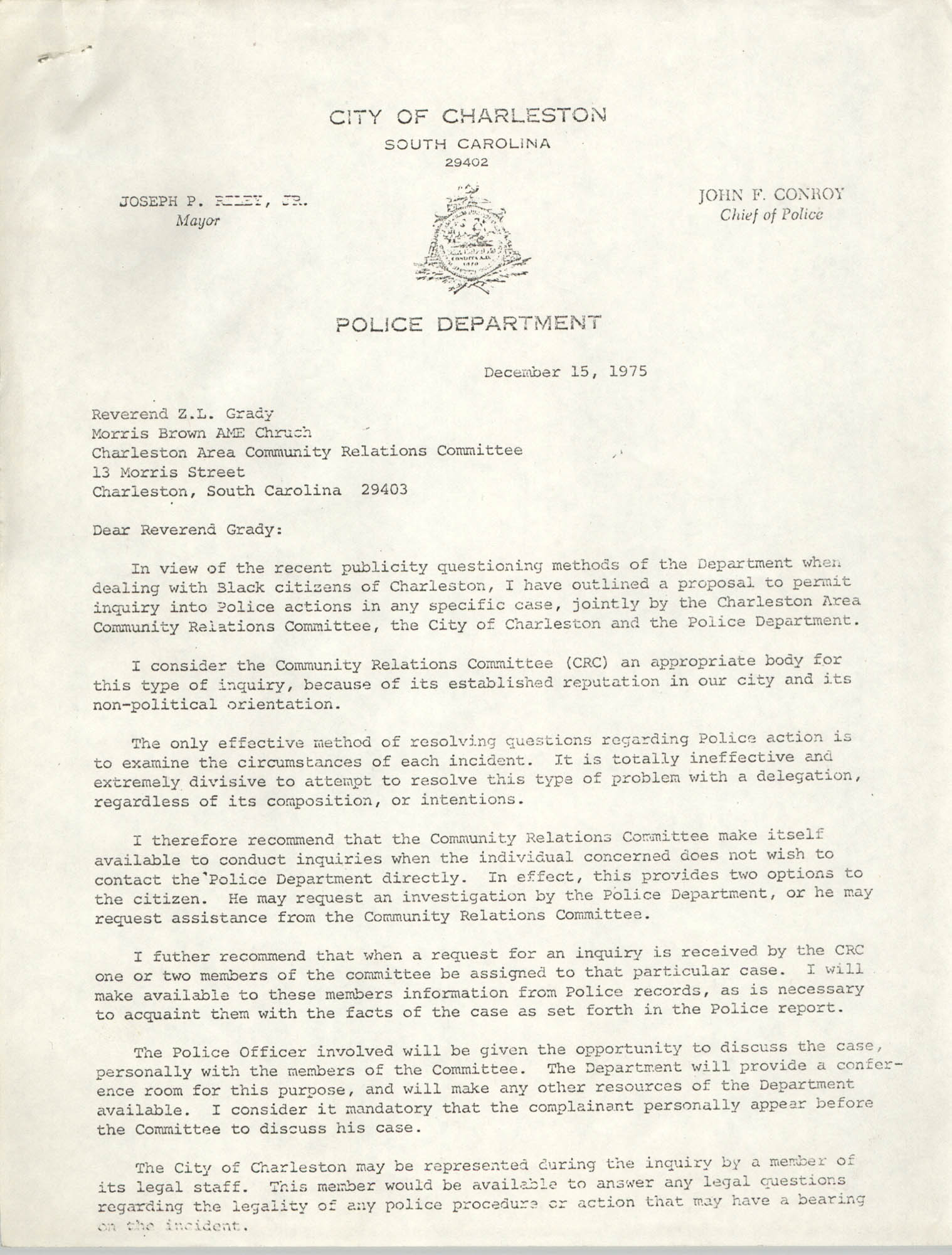 Letter from John F. Conroy to Z. L. Grady, December 15, 1975