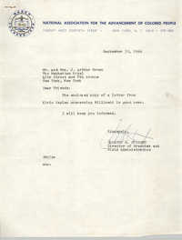Letter from Gloster B. Current to Mr. and Mrs. J. Arthur Brown, September 30, 1966
