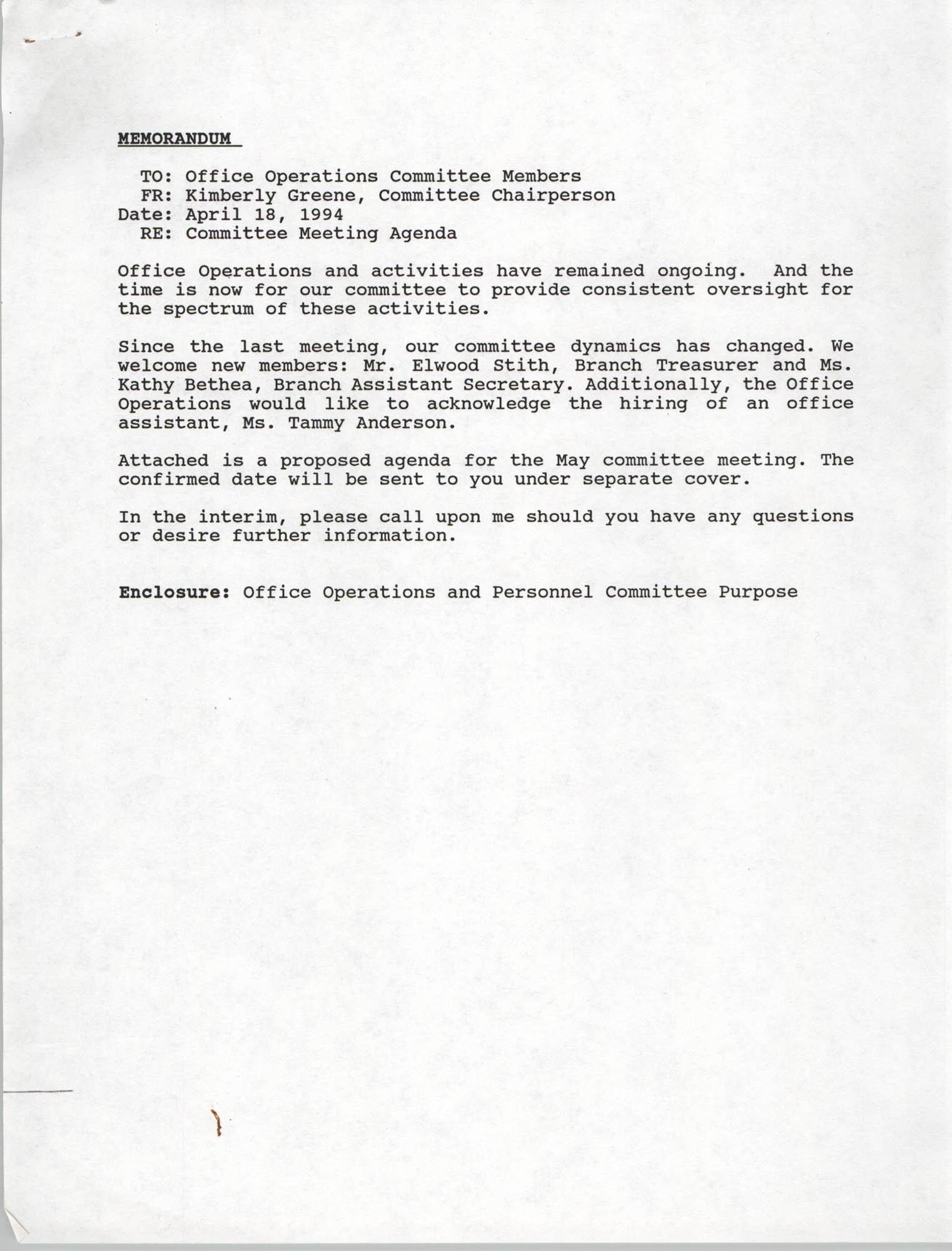 Charleston Branch of the NAACP Memorandum, April 18, 1994