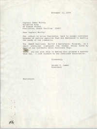 Letter from Dwight C. James to James Worthy, November 21, 1989