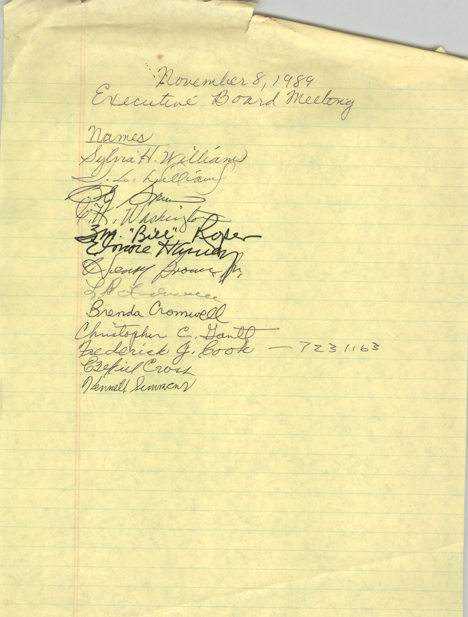 Sign-in Sheet, Charleston Branch of the NAACP, Executive Board Meeting, November 8, 1989