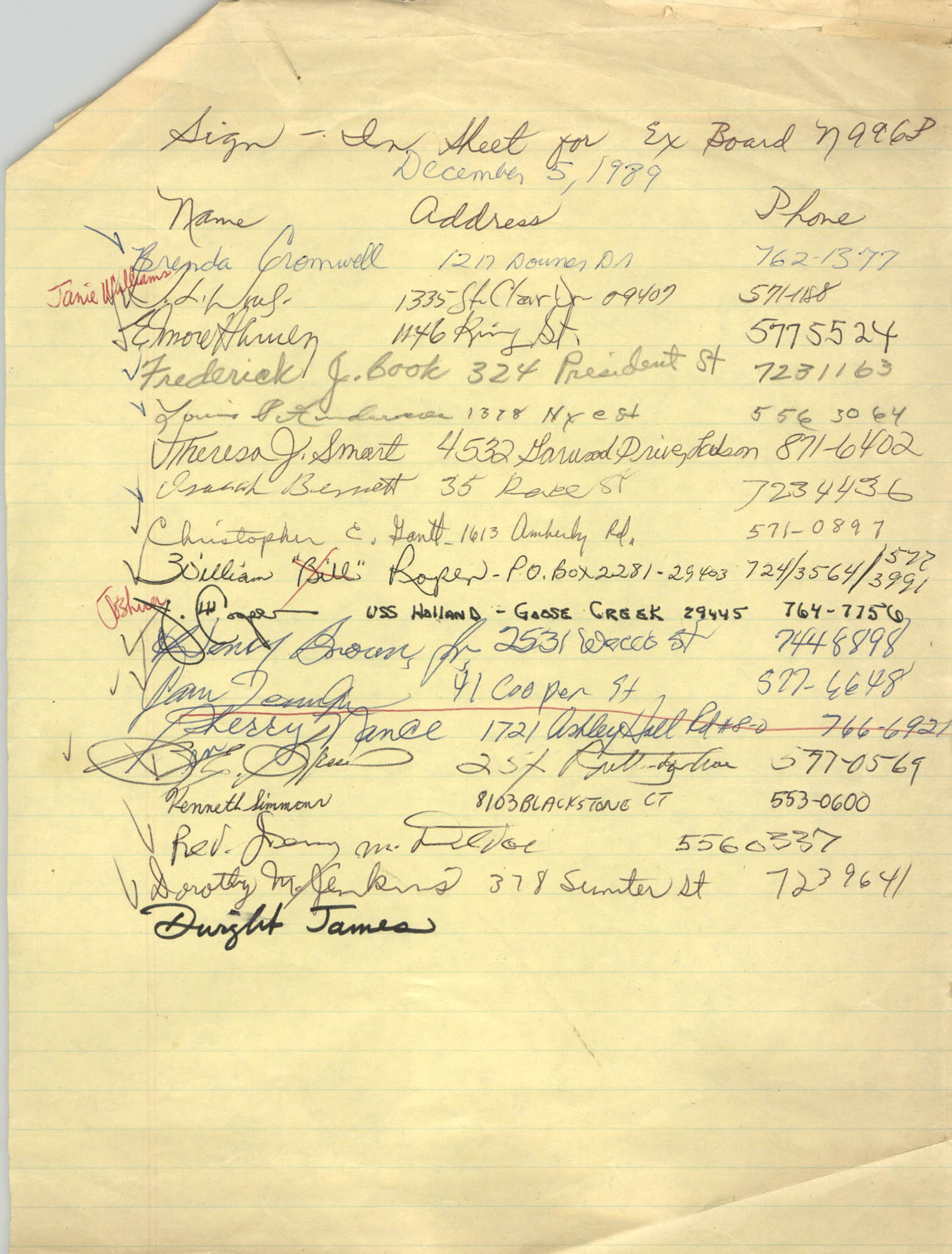 Sign-in Sheet, Charleston Branch of the NAACP, Executive Board Meeting, December 5, 1989