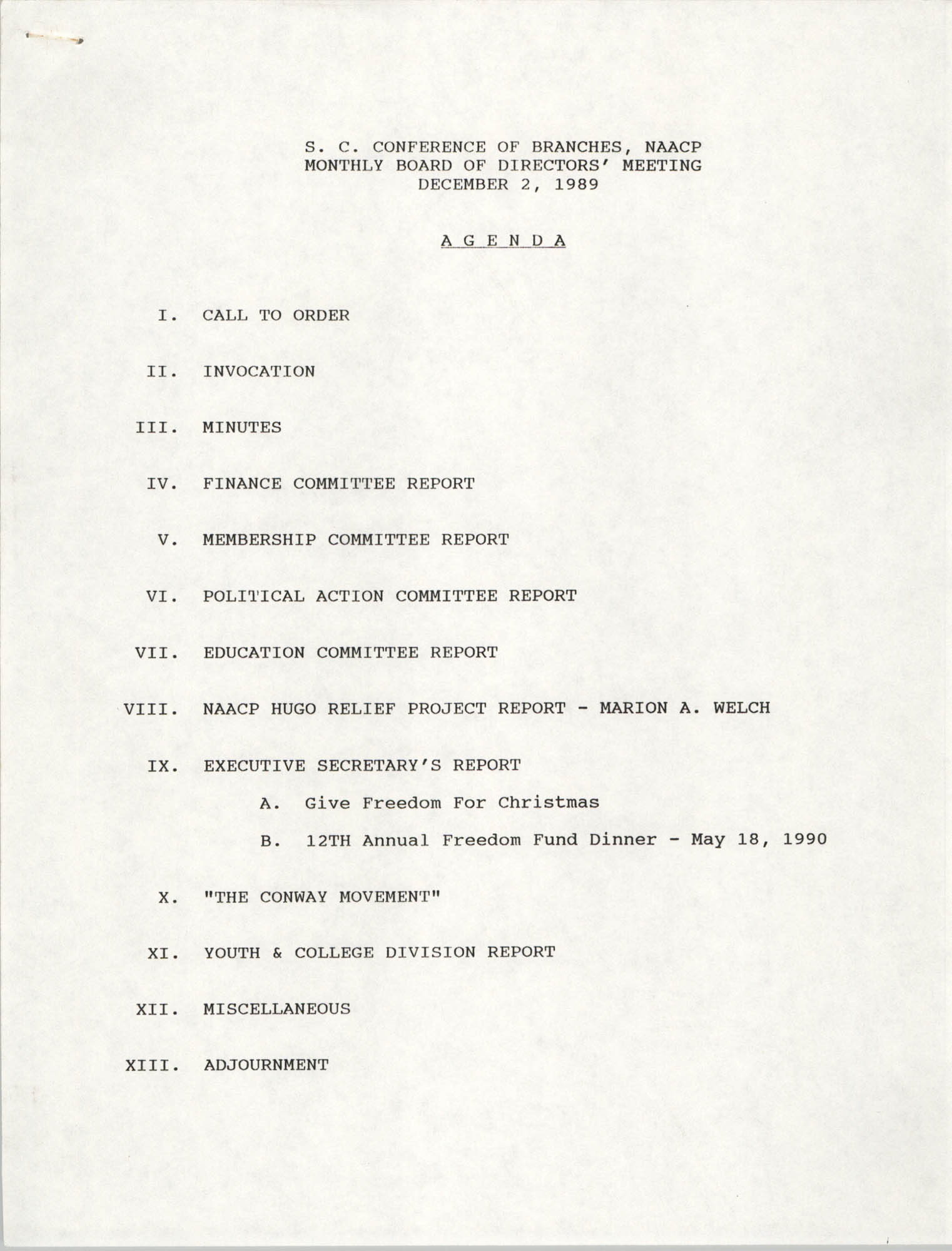 Agenda, South Carolina Conference of Branches of the NAACP, December 2, 1989