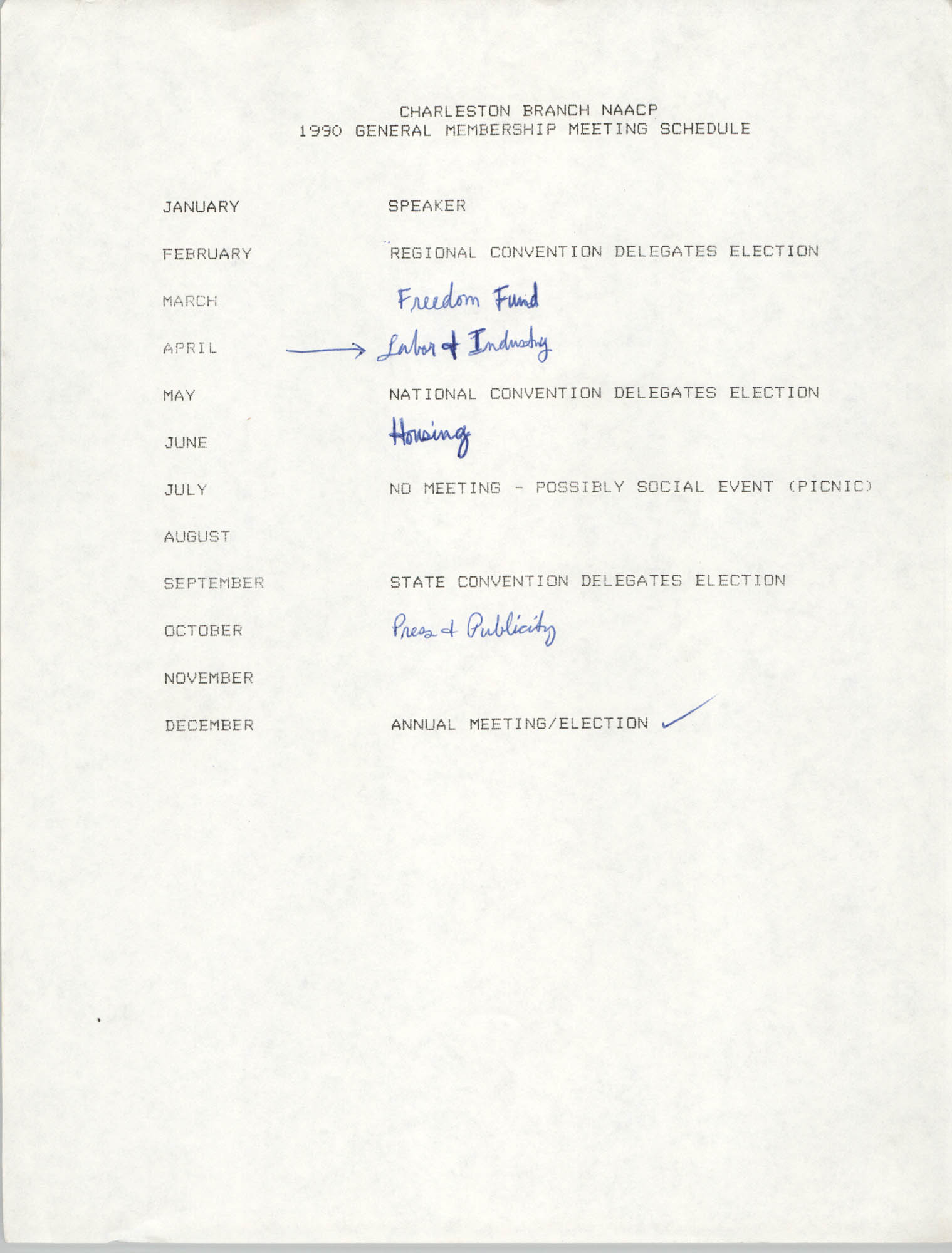 1990 General Membership Meeting Schedule, Charleston Branch of the NAACP