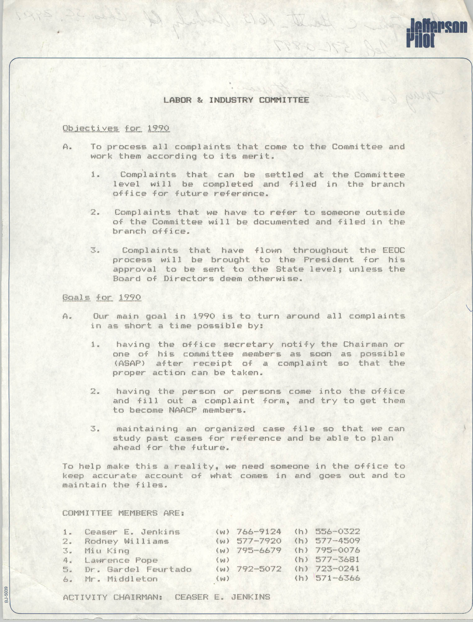 Charleston Branch of the NAACP Labor and Industry Committee Committee, 1990