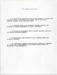 General Objectives, Charleston Branch of the NAACP, 1990