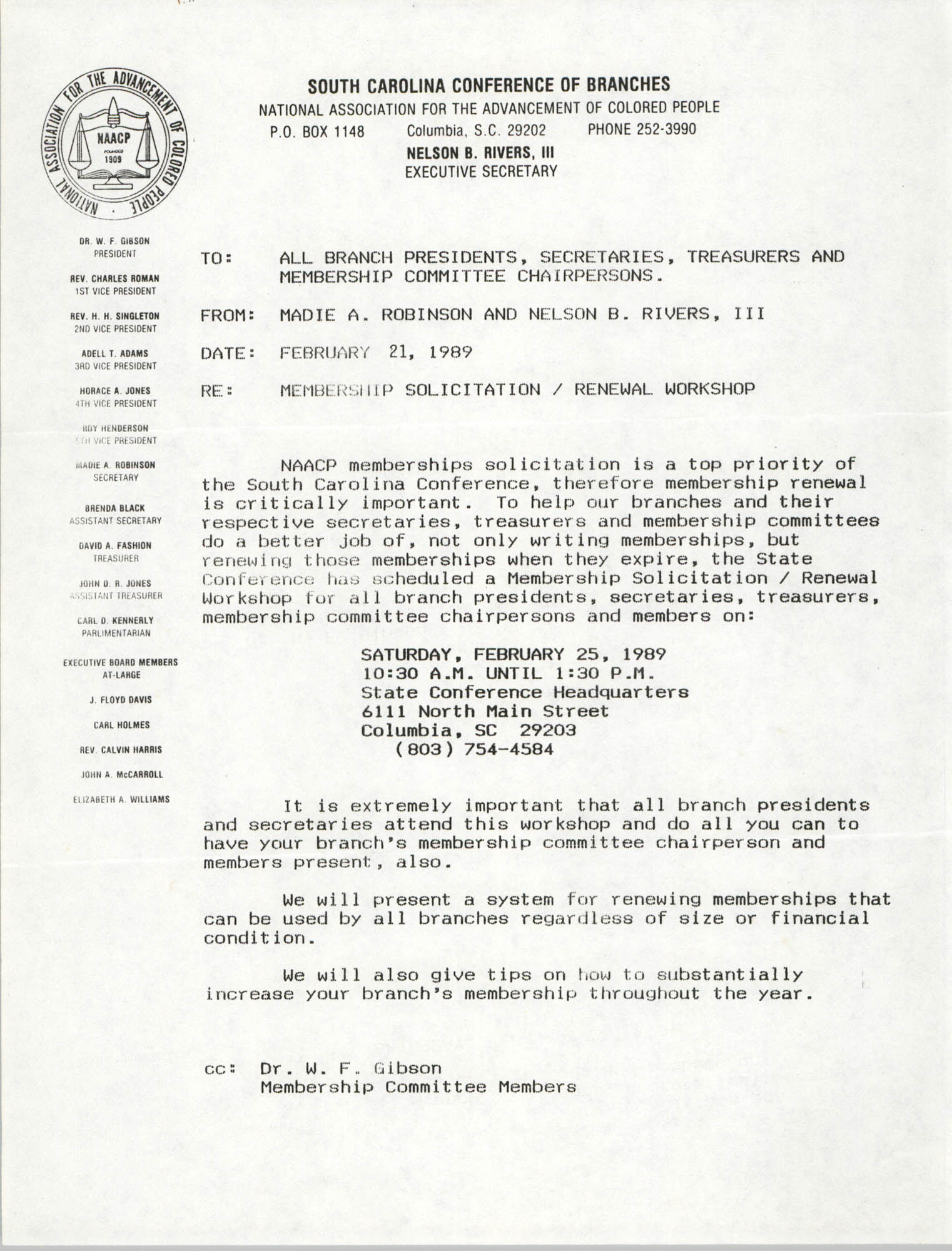 South Carolina Conference of Branches of the NAACP Memorandum, February 21, 1989
