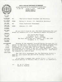 South Carolina Conference of Branches of the NAACP Memorandum, February 13, 1989