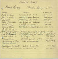 Sign-in Sheet, Charleston Branch of the NAACP, Branch Meeting, February 23, 1989