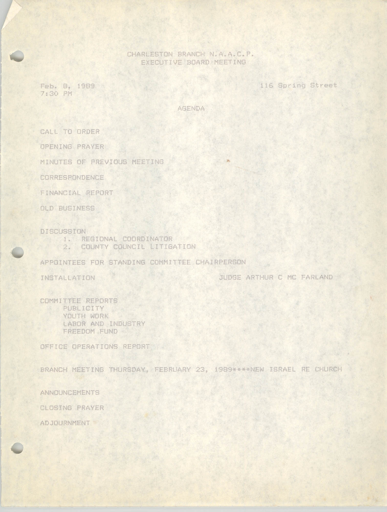 Agenda, Charleston Branch of the NAACP, Executive Board Meeting, February 8, 1989