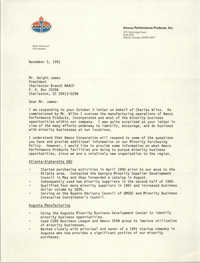 Letter from Brian Dinsmoor to Dwight James, November 5, 1991