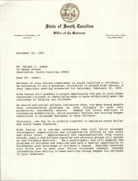 Letter from Carroll A. Campbell, Jr. to Dwight C. James, December 20, 1991