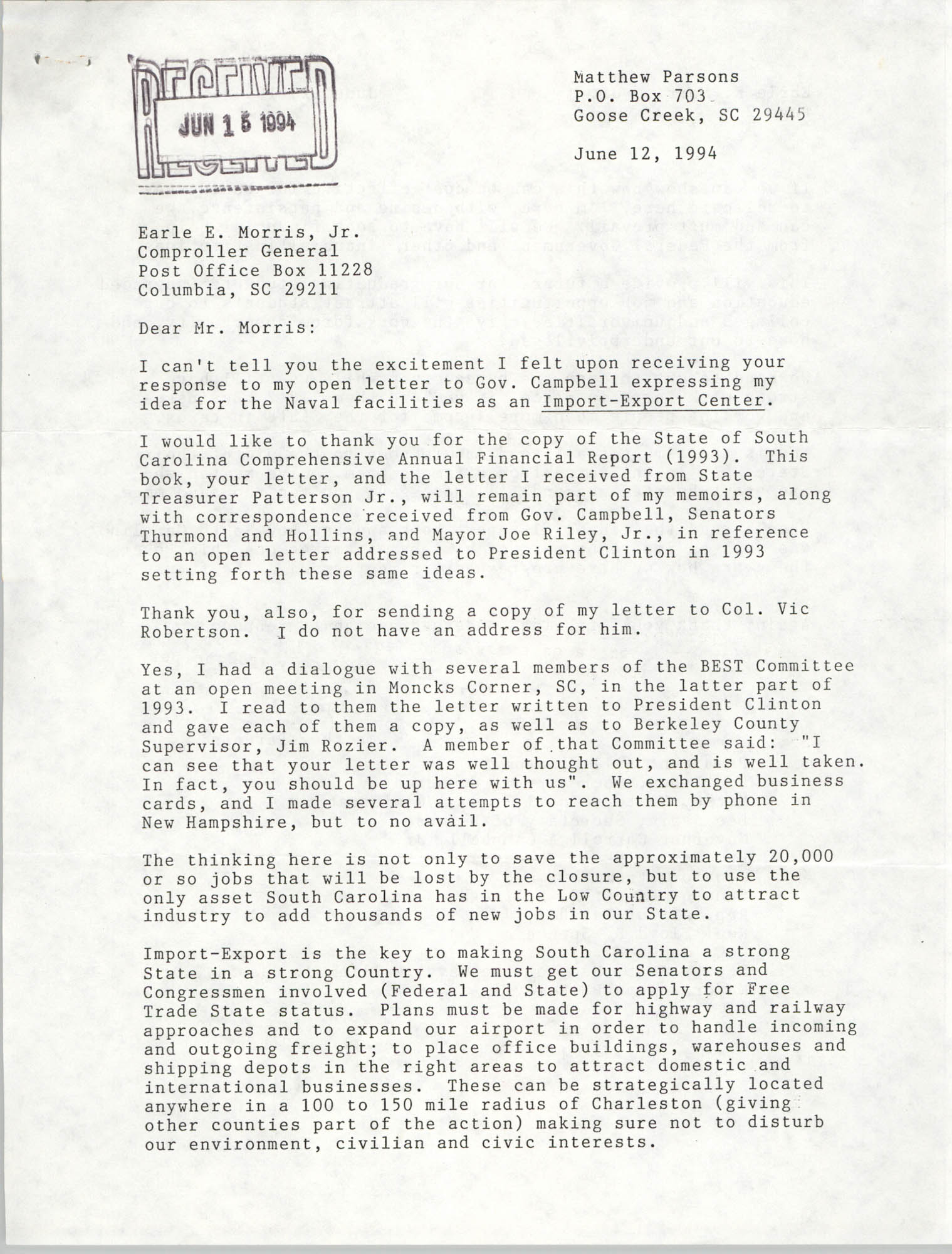 Letter from Matthew Parsons to Earle E. Morris, Jr., June 12, 1994
