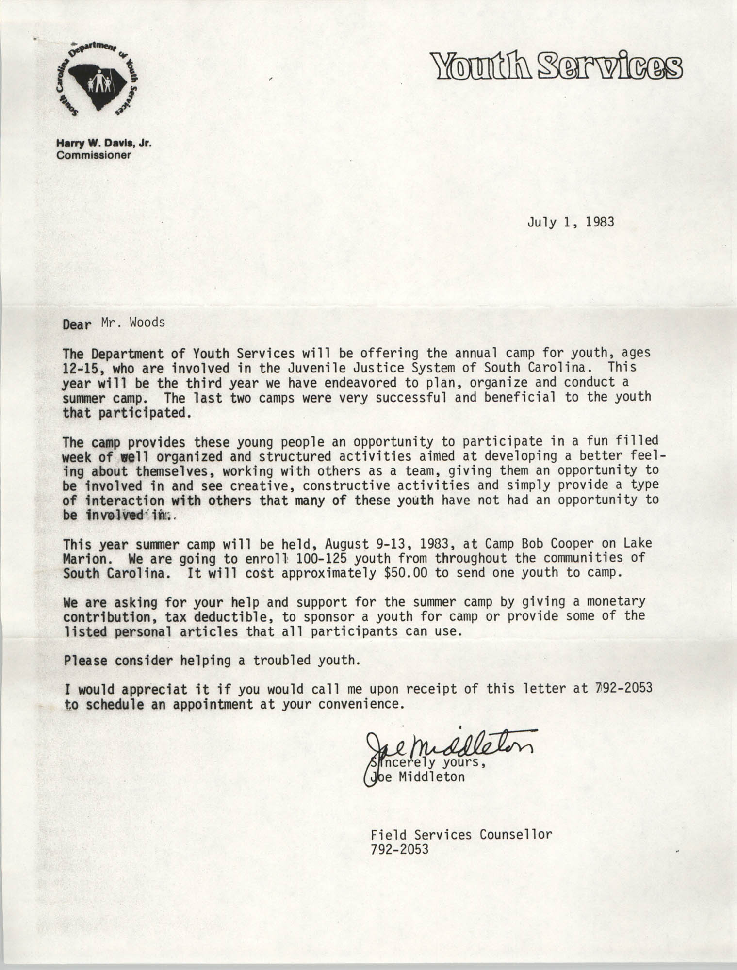 Letter from Joe Middleton to Delbert L. Woods, July 1, 1983