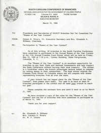 South Carolina Conference of Branches of the NAACP Memorandum, March 14, 1989