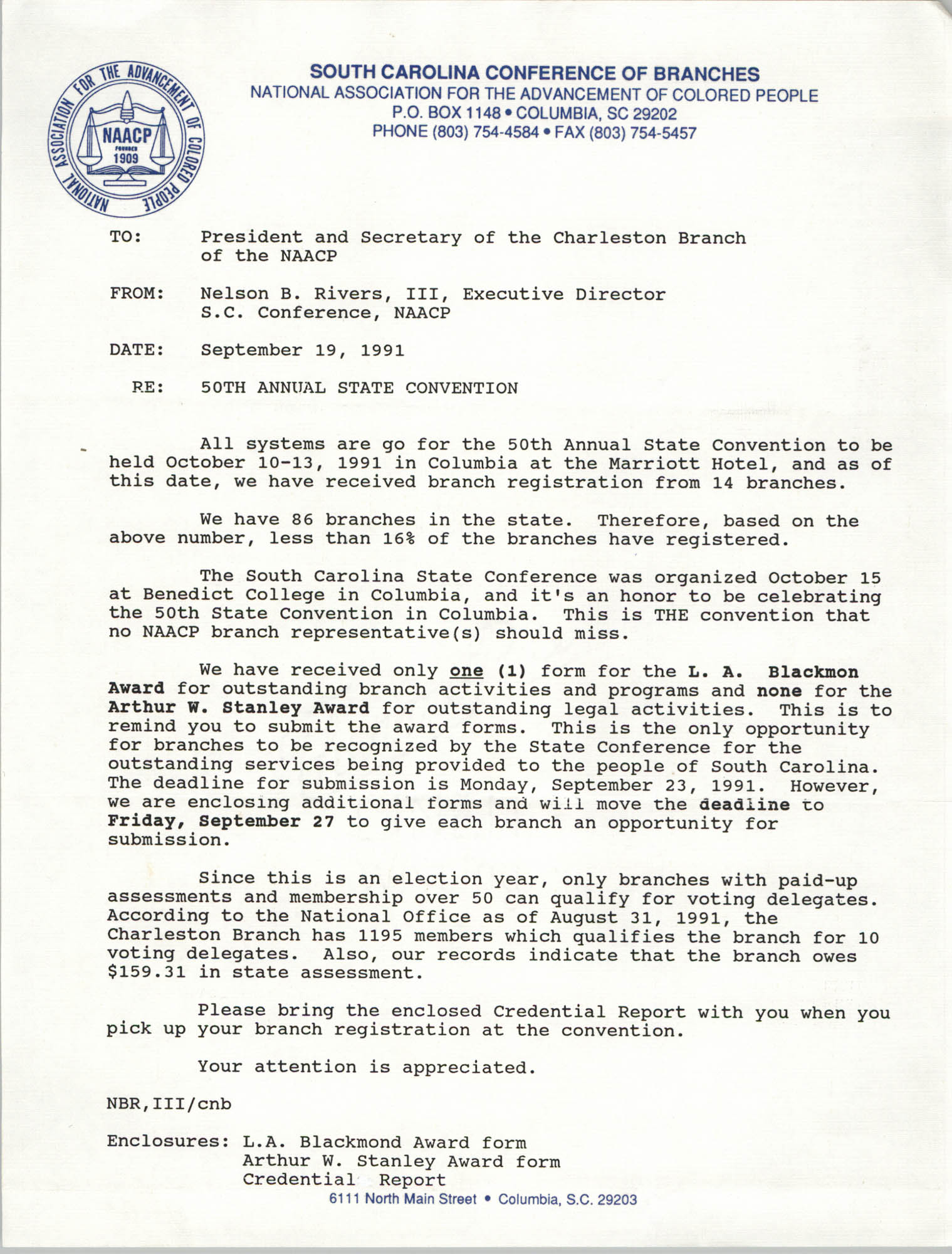 South Carolina Conference of Branches of the NAACP Memorandum, September 19, 1991