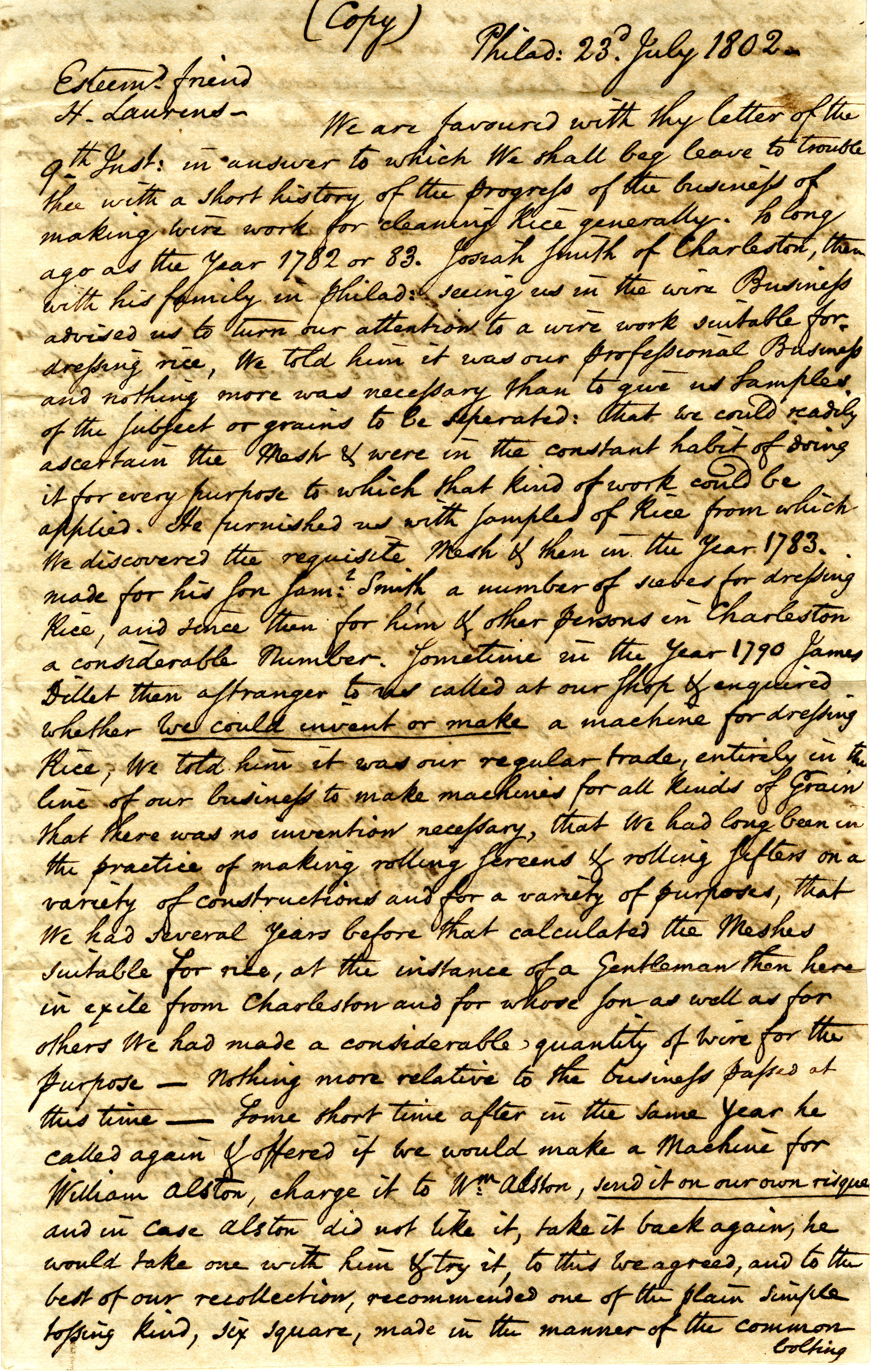 Letter from N[athan] and D[avid] Sellers (brothers) to Henry Laurens, Jr.