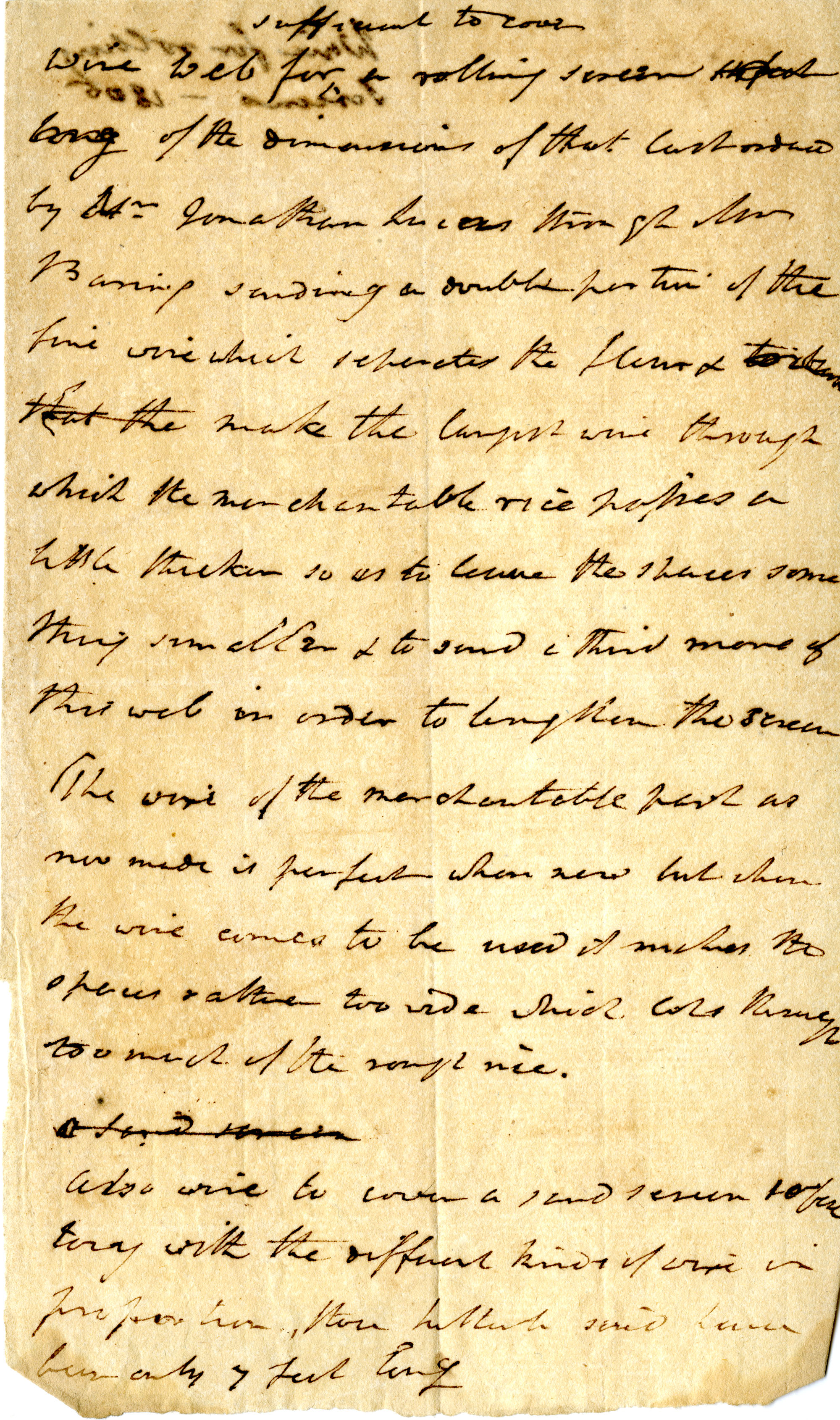 Pinckney's notes on 'wire web sufficient to cover a rolling screen…'