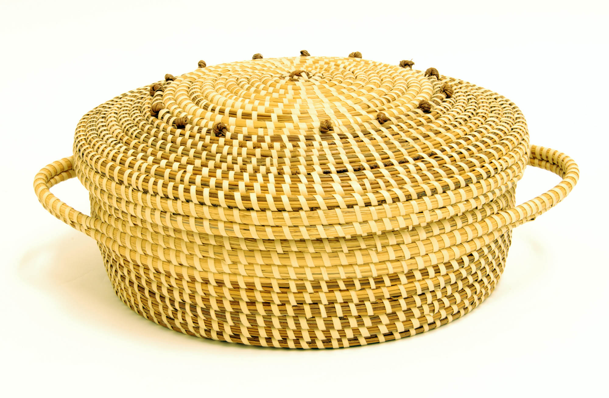 Sweetgrass sewing basket with hinged lid